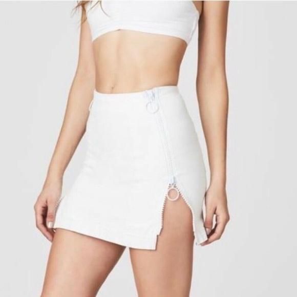 LF Dresses & Skirts - LF Carmar White Margery Double Zipper O-Ring Skirt
